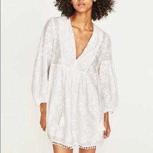 ZARA White embroidered Puff sleeve pom pom dress